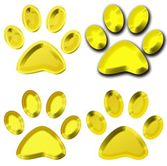 set of golden pet paws illustration