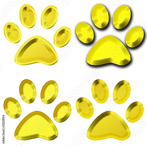 set of golden pet paws illustration