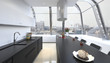 Modern Design Kitchen Interior in White Color