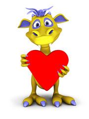 Cute cartoon monster holding big red heart.