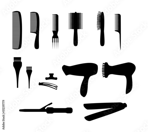 Accessories for hair salon. Vector silhouettes