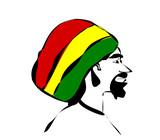 man wearing rastafarian hat