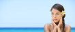 Spa woman on travel beach resort - panorama banner