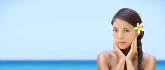 Spa woman on travel beach resort - panorama banner