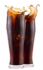 Fresh cola drink background with splash