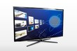 Glossy widescreen high definition tv screen with streaming video