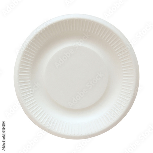 Disposable paper plate isolated on white with clipping path