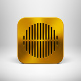 Technology App Icon Template with Gold Metal Texture
