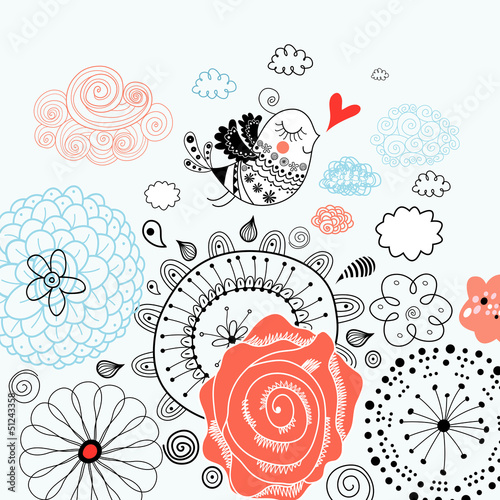 floral background with a graphic love bird
