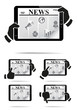 Hands holding tablet pc with news. Vector illustration