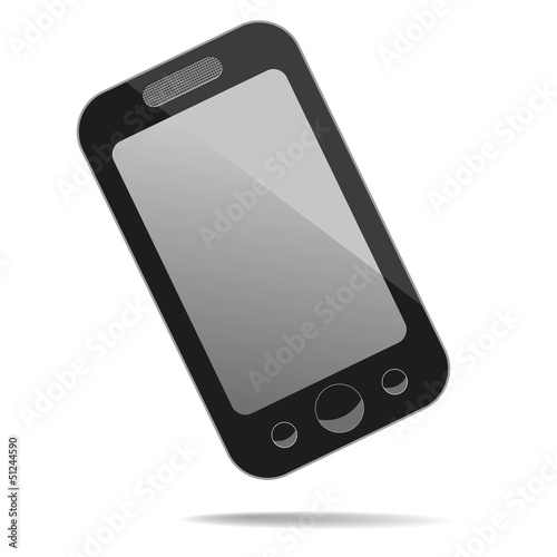 Mobile phone with blank screen. Vector illustration