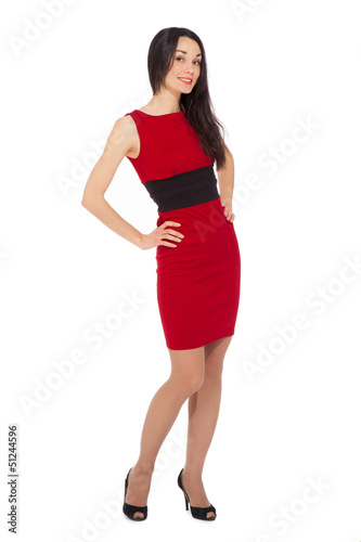 portrait of beautiful smiling woman wearing red dress and black