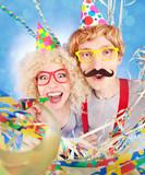 Funny nerdy couple celebrating