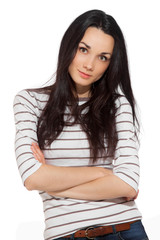 portrait of beautiful brunette woman wearing striped t-shirt