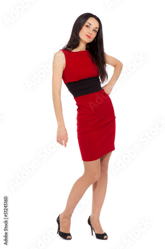 portrait of beautiful sexy woman wearing red dress and black sho