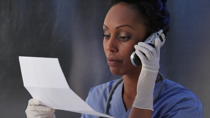 Healthcare worker gives test results.