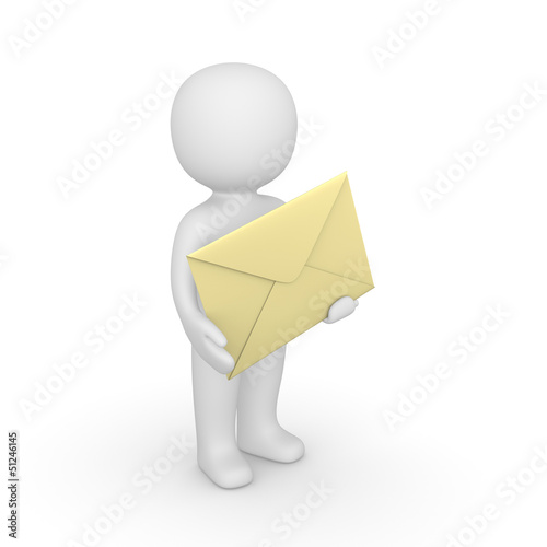 3d man holding big envelope