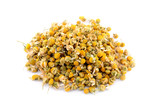 Heap dried chamomile isolated on white background