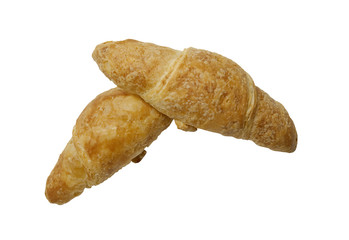 freshly baked mini honey croissant, isolated