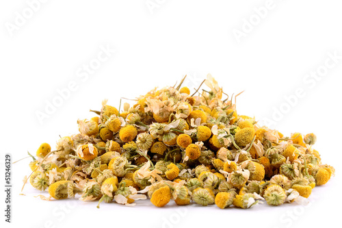 Pile of chamomile isolated on white background