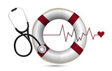 lifeline and lifebuoy with a Stethoscope poster