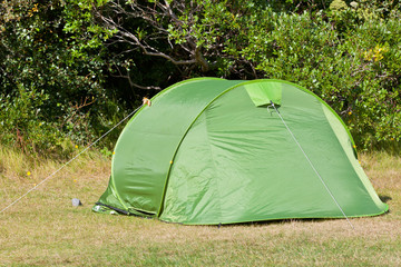 Outdoor Green Tourist Tent at Field