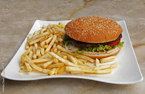 plate with fries and hamburger