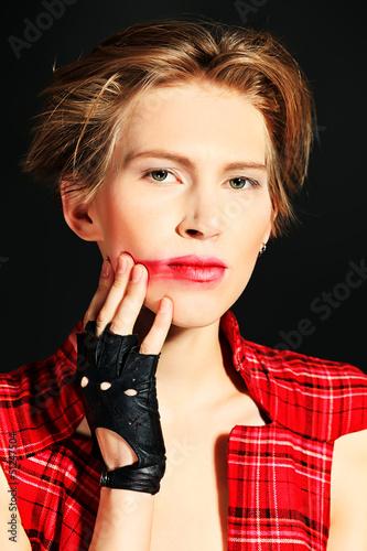 smeared lipstick