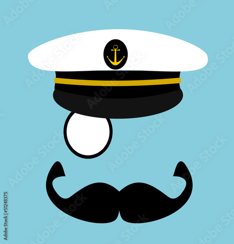 man with sailor hat and large mustache