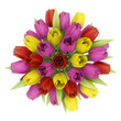 top view bouquet of tulips in vase isolated on white background