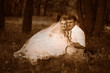 Retro black and white photo of sepia beautiful couple at wedding