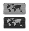 World map on brushed metal app icons