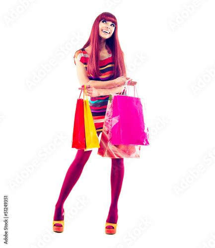 Fashion Shopping Girl full length Portrait