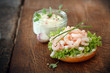 Gourmet shrimp bruschetta