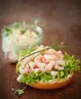 Open seafood sandwich or bruschetta