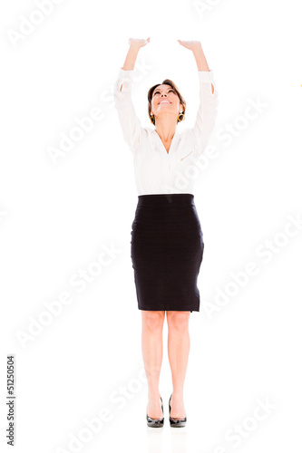 Business woman lifting something