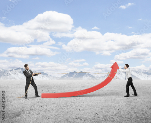 two man pulling a rope red arrow on nature backgrounâ