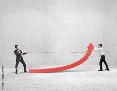 twoo businessman pulling a rope red arrow in room