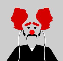 sad clown wearing earphones