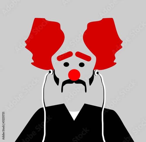 sad clown wearing earphones