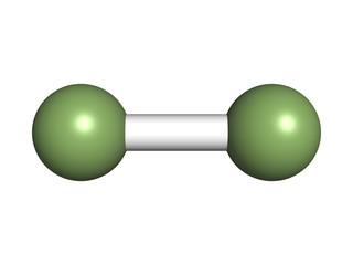 Elemental fluorine (F2), molecular model.