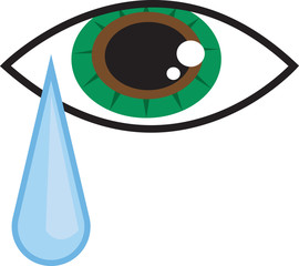 Isolated eye with falling tear drop