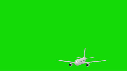 On a green screen airliner gaining speed and height and rises