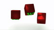 WWW inscription with bright green letters on copper red dice