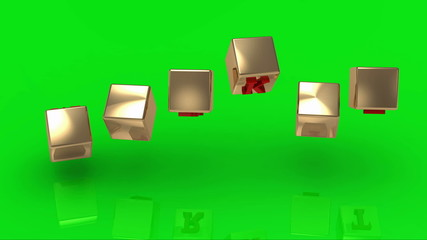 Green screen. MARKET inscription red letters on gold cubes