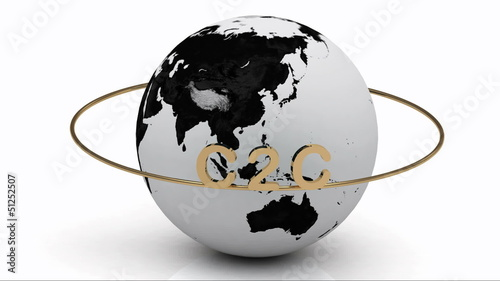 Rotating earth and the inscription gold lettering C2C