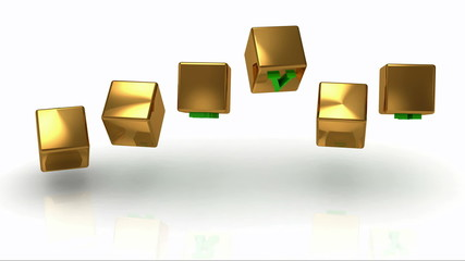 SURVEY inscription bright green letters on a gold rotating cubes