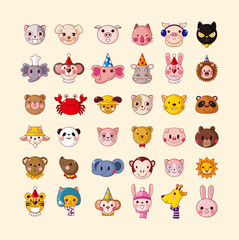 set of animal head icons