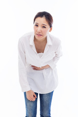 Young Asian woman having a stomachache