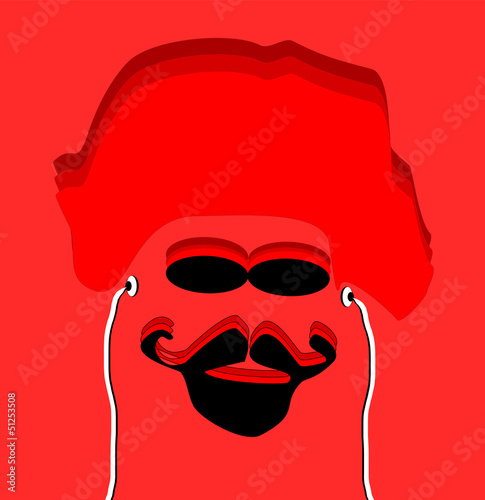 red man with goatee and earphones